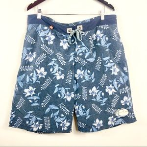 Nautica swim trunks shorts mesh lined blue floral